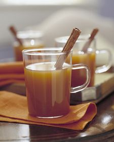 Here's a delicious way to ward off cold weather: Serve hot cider spiced like an apple pie. Season your cider with the same spices you would use in a pie-cinnamon, allspice, ginger, cloves, and nutmeg-then heat it up. If you'd like, pour in brandy for adults. Add a cinnamon stick to each mug for stirring.