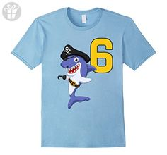 Mens Kids 6th Birthday Pirate Shark T-Shirt for 6 Year Old Boys XL Baby Blue - Birthday shirts (*Amazon Partner-Link)