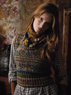 Ukraine Knit Vest - cropped fairisle sleeveless pullover from Rowan Knitting & Crochet Magazine a design by Marie Wallin. Rowan Knitting, Fair Isle Knitting, Fashion Mode, Look Fashion, Crochet Magazine, Knit In The Round, Knit Vest, Tartan, Tweed
