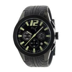 PUMA Men's PU101961001 Tire Black Dial Watch PUMA. $119.00. Water-resistant to 165 feet (50 M). Case size diameter: 45 mm. Stainless steel case. Luminous; Black dial