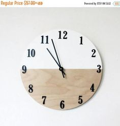 modern wall clock trending color block natural wood and white housewares home and living unique wall clock