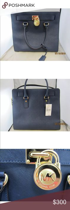 "NWT MICHAEL KORS NAVY HAMILTON SAFFIANO LEATHER -Made of saffiano leather.   -Approx. 14 1/2"" x 13 1/2"" x 5"". Double handle with approx. 4"" drop. Longer shoulder strap.   -Magnetic tab closure.   -Interior zip and slip pockets; key hook.    Retail $358 Michael Kors Bags"