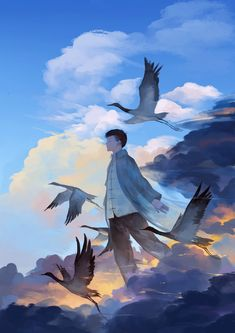 Relaxing Pictures, Kawaii, Bird Illustration, Bird Drawings, Environmental Art, People Art, Anime Scenery, Art Day, Character Art
