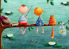Risultati immagini per elina ellis illustration Art Fantaisiste, Art Mignon, Children's Book Illustration, Whimsical Art, Cat Art, Illustrations Posters, Arts And Crafts, Artsy, Drawings