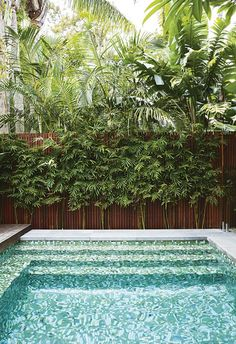 Inspired by a family trip to Bali, this compact garden includes kid-friendly zones and plenty of space for entertaining. Backyard Pool Landscaping, Small Backyard Pools, Small Pools, Tropical Landscaping, Outdoor Pool, Outdoor Gardens, Landscaping Ideas, Backyard Ideas, Pool Ideas