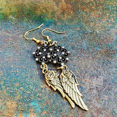 Handmade Pink Agate Tibetan Silver Angel Wing Feather Hook Earrings Silver Plate