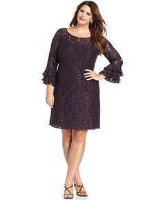 Jessica Howard Plus Size Dress Three Quarter Sleeve Ruffled Lace