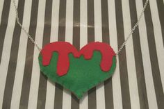 Felt, Zombie Inspired,  Heart Necklace, Cute and Creepy, Red and Green, Horror Present, Silver Plated Chain