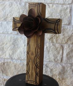 Handmade Wooden Cross with Rustic Tin Flower. $65.00, via Etsy.