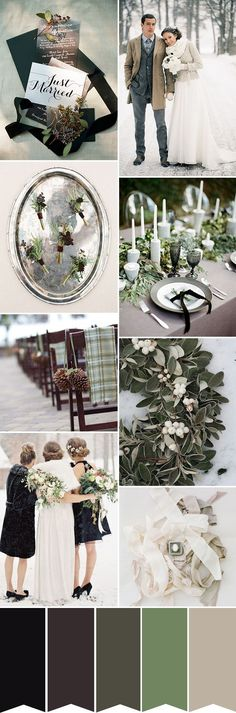 Winter Rustic Glam - A sage green and black wedding colour palette | www.onefabday.com
