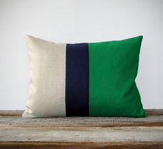 Color Block Stripe Pillow in Kelly Green, Navy and Natural Linen by JillianReneDecor Modern Home Decor Emerald Green Decorative Pillow. $45.00, via Etsy.