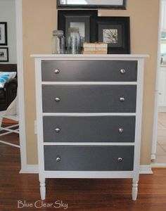 See how to create this vintage grey and white wood dresser