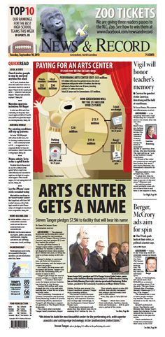 Front page Sept. 10, 2013 www.news-record.com