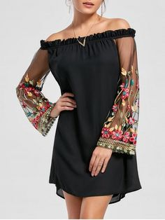 Shop for Embroidery Flare Sleeve Off The Shoulder Dress BLACK: Long Sleeve Dresses 2XL at ZAFUL. Only $20.99 and free shipping!