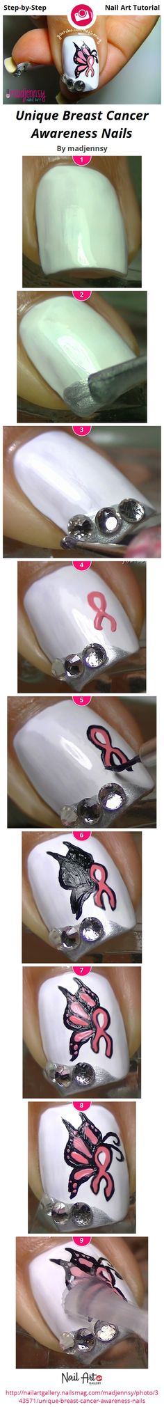 Unique Breast Cancer Awareness Nails by madjennsy - Nail Art Gallery Step-by-Step Tutorials nailartgallery.nailsmag.com by Nails Magazine www.nailsmag.com #nailart