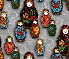 matryoshka pattern ~ katyazorin @ SpoonFlower  ~ Russian doll fabric