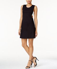 Bar III Colorblocked Cutout A-Line Dress, Only at Macy's
