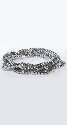 stretch bling necklace silver