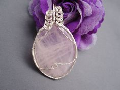 Rose Quartz and Silver Asymmetrical Wire Wrapped by element826, $35.00