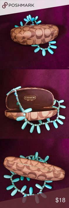 COACH Signature clam glasses case NEW  Protect your sunnies with this always elegant case. Perfect condition, no nicks, scratches or scars.  (necklace not included, available in a separate listing) Coach Accessories Sunglasses