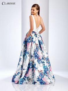 Clarisse – 3538 Deep V-Neck Floral Mikado Evening Gown A Line Prom Dresses, Grad Dresses, Homecoming Dresses, Bridesmaid Dresses, Formal Dresses, Wedding Dresses, Floral Print Gowns, Floral Gown, Pretty Dresses
