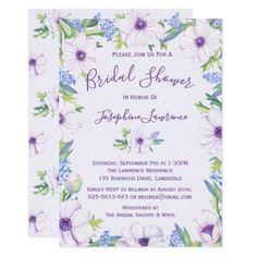 #Purple Anemone Hyacinth Spring Bridal Shower Card - #invitations #wedding #bridalshower #beautiful #bride