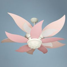 """52"""" Craftmade Bloom Pink and White Ceiling Fan with Light.  For baby girl's room!"""