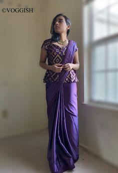 Violet Sarees Sequin With Peplum Blouse / Indian Usa / / Modern Wedding Dress Size 8 (M) Saree Blouse Neck Designs, Saree Blouse Patterns, Fancy Blouse Designs, Indian Fashion Dresses, Indian Designer Outfits, Saree Wearing Styles, Saree Styles, Dress Plus Size, Stylish Blouse Design