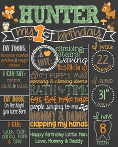 Forest Theme Birthday Chalkboard Poster // Deer // Hunting // Camo by PersonalizedChalk, $37.00