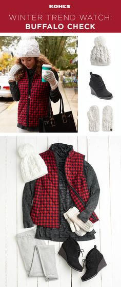 Brrr! It's cold out there! Zip into an adorable (and cozy) buffalo check vest, one of the trendiest patterns to be seen in this winter. Shop the buffalo check outfit at Kohl's. #shopping #fashion #trends