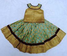 baby girl's ethnic dress Frock Patterns, Baby Girl Dress Patterns, Baby Dress Design, Little Girl Dresses, Baby Lehenga, Kids Lehenga Choli, Kids Indian Wear, Kids Ethnic Wear, Frocks For Girls