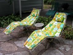 Mid Century Vintage Homecrest Patio Lawn Furniture Chairs Glider Sofa  Cushions | Wicker Furniture, Patios And Gliders