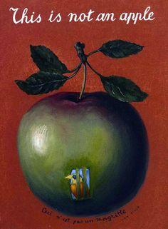⎈ ANECDOTE. Au tableau de Magritte des ajouts de Max Ernst : il a peint l'oiseau et la cage et signé au bas de la pomme : Ceci n'est pas un Magritte - Max Ernst.