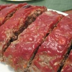 Ground beef meatloaf is made with egg, bread, and onions, then topped with a sweet and sour glaze, and baked. Beef Meatloaf Recipes, Pork Recipes, Yummy Recipes, Recipies, Lower Carb Meals, Main Meals, Easy Cooking, Cooking Recipes, Appetizer Recipes