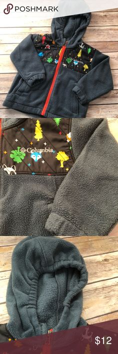 Boys Columbia Jacket Very well love 18 month Columbia jacket with a woodland print on the chest.  Has pilling on the Fleece which is extremely common with these jackets.  There is a faded name written on the inside name tag. Columbia Jackets & Coats