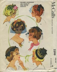 Vintage Birdcage Veil Hat Sewing Pattern | McCall's 2399 | Year 1960 | One Size