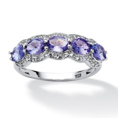 1.13 TCW Oval-Cut Tanzanite and White Topaz Ring in Platinum Over Sterling Silver at PalmBeach