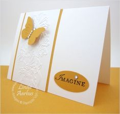handmade card ... clean and simple ... white with More Mustard embellishments ... like the use of panel cut from embossing folder as a design element ... Stampin' Up! by noemi