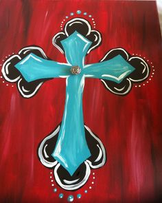 Turquoise and red cross painting for auction. Is it flattering or lame that my mom bought it? Simple Acrylic Paintings, Easy Paintings, Beautiful Paintings, Cross Paintings, Canvas Paintings, Wooden Plaques, Wooden Signs, Painted Signs, Painted Rocks