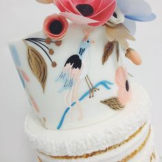 """""""@hello_cakesy created the most gorgeous Rifle Paper Co. / Moroccan inspired cake, complete with hand painting, sugar flowers, lots of fringe + accents of gold. Can't wait to show you all the complete cake and to see how our client @missmultee styles her party!"""" Photo taken by @sweetnsaucyshop on Instagram, pinned via the InstaPin iOS App! http://www.instapinapp.com (09/19/2015)"""