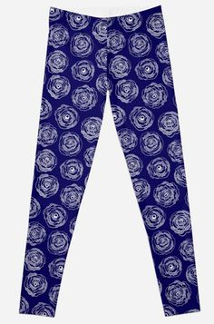 Navy and white hand drawn doodle roses. Leggings by Notsundoku | Redbubble. #repeatpattern #patterns #roses #doodles #doodleart #flowers #handdrawn #Notsundoku #Redbubble #leggings #clothes #comfortwear