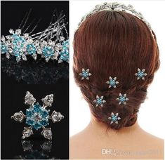 Frozen Bridal Hair Accessories Blue & White Silver Plated U Pins Party Hair Accessories Wedding Head Pieces Pearl Hair Clips Pearl Wedding Hair Accessories From Janet2011, $0.6| Dhgate.Com