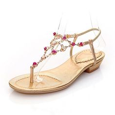 da0860db21c773 QueenFam Womens Open Toe Low Heel Sheepskin Soft Material Solid Thong  Sandals with Glass Diamond