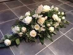 White rose coffin spray