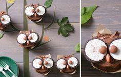 Eulen-Muffins - Süße Muffins für den nächsten Kindergeburtstag - Zutaten für 12 Muffins: - 24 Oreo Kekse - 165 g zimmerwarme Margarine (z. B. Sanella) - 125 g Zucker - 2 Eier - 150 g Mehl - 25 g Backkakao - 1 TL Backpulver (leicht...