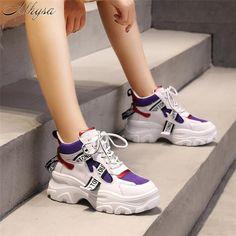 kai-da Flat Platform Sneakers Women Fashion Thick Bottom Height Increasing Casual Chunky Shoes Ladies Shoes