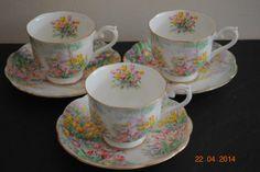 3 x Royal Albert Art Deco Tulip Cups Saucers RD No 823059   eBay