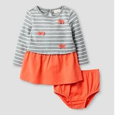 Baby Girls' Stripe Bow Dress Baby Cat & Jack™ - Coral : Target