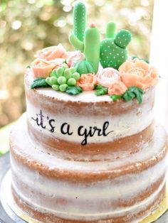 Cactus cake for girl Cactus cake for girls baby shower Cake made by Sweet & Succ… Cactus cake for girl Cactus cake for girls baby shower Cake made by Sweet & Succulent Cakes Baby Cakes, Cupcake Cakes, Bolos Naked Cake, Babyshower Party, Gateau Baby Shower, Boho Baby Shower, Baby Shower Cake For Girls, Food For Baby Shower, Cakes For Baby Showers