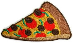 """Tired of seeing the same ol' pizza paraphernalia all around town, why not add a little sinister skull action with this Pizza Patch from Sourpuss. You're vest or jacket will be saying """"I love pizza...t"""